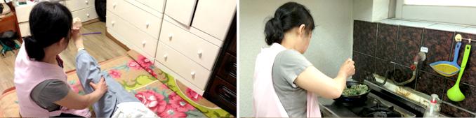 왼쪽사진-어르신 다리운동을 돕고있다, 오른쪽사진-음식준비를 하고있다